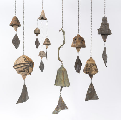 Paolo Soleri, Untitled bells, ca. 1960 – 1968. Ceramic, bronze and aluminum with copper wind sails and metal hardware, dimensions variable. Collection of Will Bruder and Louise Roman, Phoenix. © Cosanti Foundation