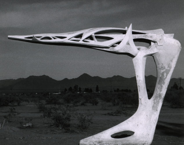 aolo Soleri, Single Cantilever Bridge, early 1960s. Plaster, silt and adhesive; top element: 16 x 15 x 78 inches and base: 45 ½ x 14 ¼ x 29 inches. Collection of the Cosanti Foundation. © Cosanti Foundation