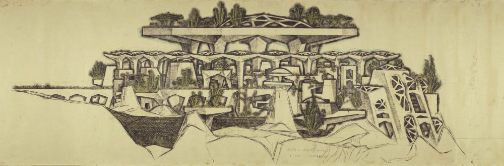Paolo Soleri, Mesa City, Arts + Crafts Villages C-D, 1961. Charcoal, ink and pastel on paper, 48 x 212 inches. Collection of the Cosanti Foundation. © Cosanti Foundation