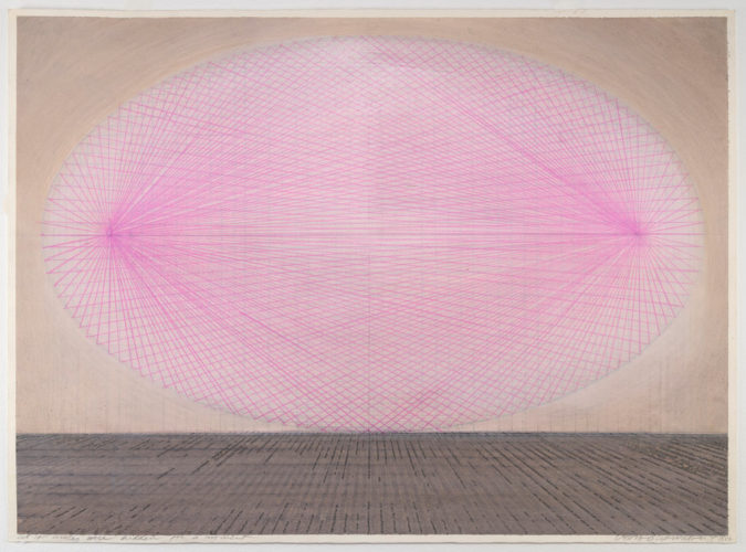 Lydia Okumura, As if Circles Were Hidden For a Moment, 1997. Acrylic and pencil on paper, 22 × 29 7⁄8 inches. Courtesy of the artist and BROADWAY 1602, UPTOWN & HARLEM. Photo: IMG_INK