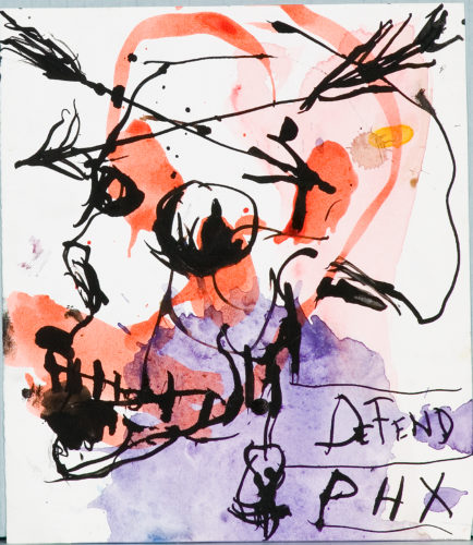 Brad Kahlhamer, Skull (Defend PHX), 2004. Pen, ink, watercolor on paper, 7 ½ x 6 ½ inches. Collection of Scottsdale Museum of Contemporary Art, gift of Susan Krane, 2004.005. © Brad Kahlhamer.
