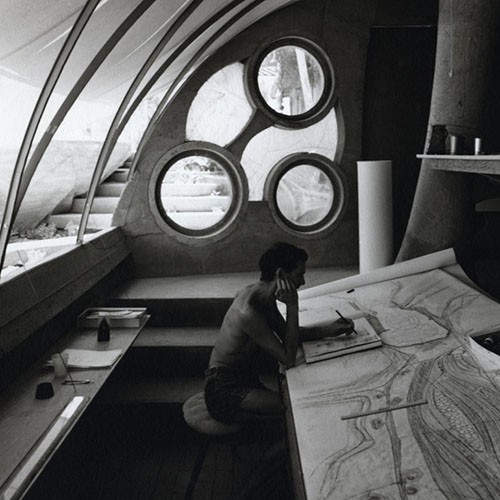 Stuart A. Weiner, [Soleri sketching at his desk, Cosanti], ca. 1960. Gelatin-silver print, 10 x 8 inches. Collection of the Cosanti Foundation. © The Weiner Estate