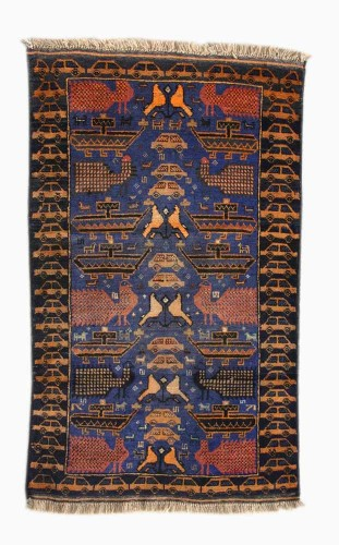 Unknown maker in Western Afghanistan, War Rug with Peacocks, date unknown; acquired in Peshawar, Pakistan, 1994. Knotted wool, 57 1/2 x 33 1/2 inches. Private collection