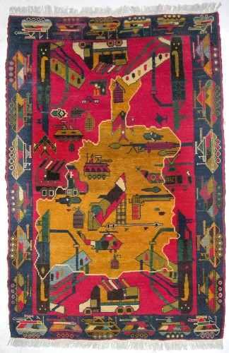 Unknown maker in Baghlan, Afghanistan, War Rug with Map of Afghanistan, date unknown; acquired in Peshawar, Pakistan, 1998. Knotted wool, 71 ¾ x 45 ¼ inches. Private collection