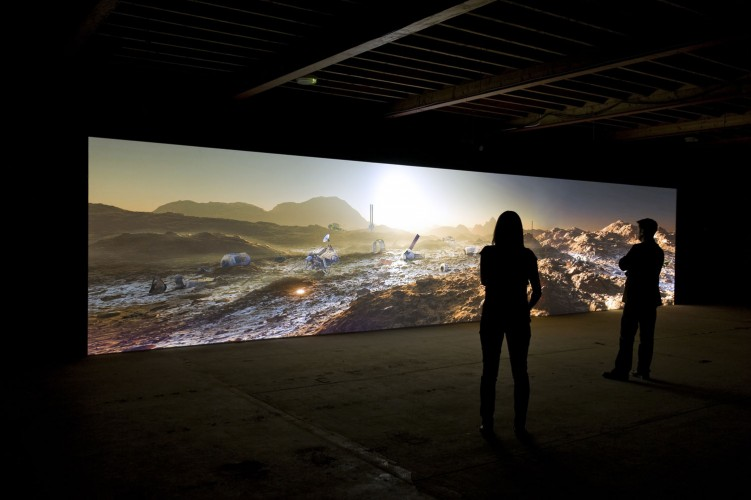 Kelly Richardson, Mariner 9, 2012. Panoramic video installation with sound; 9 × 43 feet, 5.1 audio, 20 minute seamless loop. Originally commissioned by Tyneside Cinema, Newcastle upon Tyne, United Kingdom. Courtesy of the artist and Birch Contemporary, Toronto, Canada. © Kelly Richardson. Photo: Colin Davison