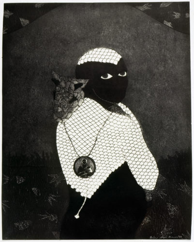 "Sin título [Sikán con chivo] (Untitled [Sikán with Goat]), 1993, Collograph, 79 x 67,5 cm (31 x 26 "")."