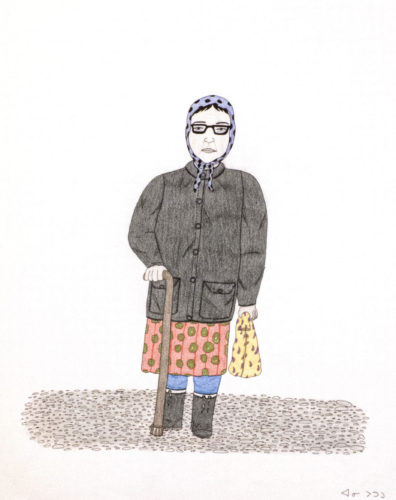 Annie Pootoogook (Inuit, 1969 – 2016), A Portrait of Pitseolak, 2003 – 2004. Pencil crayon and ink on paper, 26 x 20 inches. Edward J. Guarino Collection, Yonkers, New York