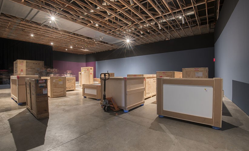 Crates waiting to be unpacked at the Scottsdale Museum of Contemporary Art. Photo: Peter Bugg