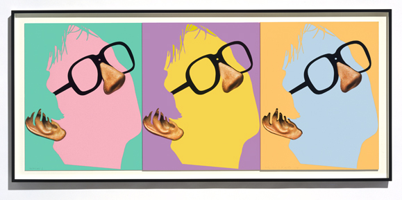 John Baldessari, Noses & Ears, Etc.: The Gemini Series: One Face (Three Versions) with Nose, Ear, and Glasses, 2006. Screen print, 34 ¾ × 76 ¾ × 3 inches. Collection of RBC Wealth Management. Image courtesy of the artist © John Baldessari.