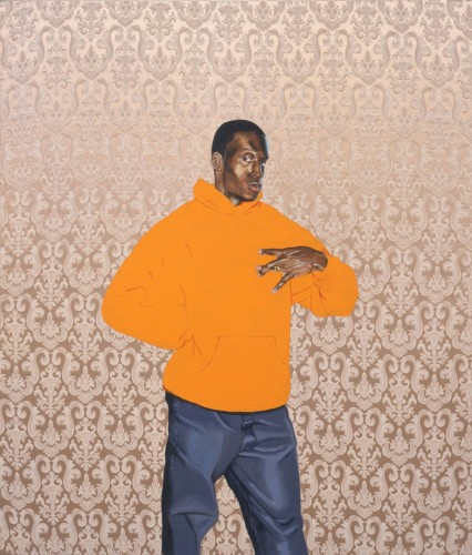 Kehinde Wiley, Passing/Posing #15, 2002. Oil and enamel on canvas, 56 × 48 inches. Collection of RBC Wealth Management. Image courtesy of the artist and Rhona Hoffman Gallery, Chicago © Kehinde Wiley
