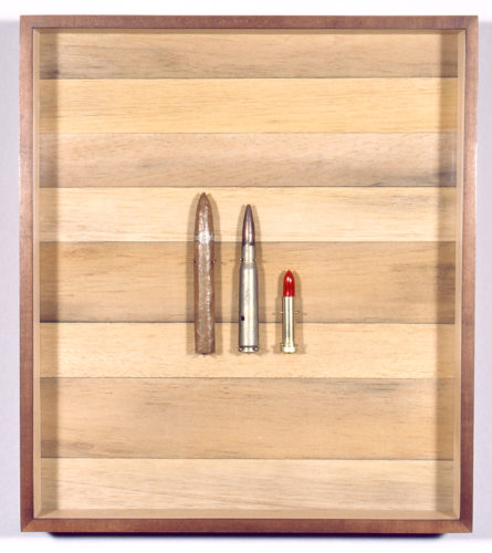 Dominique Blain, Untitled, 1993. Cigar, bullet and lipstick on wood, 18 1⁄2 × 16 9⁄16 × 2 1⁄2 inches. Collection of the Scottsdale Museum of Contemporary Art. Gift of Dorothy Rissman