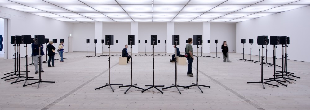 "Janet Cardiff, The Forty Part Motet, 2001. Reworking of ""Spem in Alium Nunquam habui"" (1575) by Thomas Tallis; 40-track sound recording (14:00 minutes), 40 speakers. Collection of the Museum of Modern Art, New York. Gift of Jo Carole and Ronald S. Lauder in memory of Rolf Hoffmann, 2002. Image courtesy of the artist and BALTIC Centre for Contemporary Art, Gateshead, UK. © Janet Cardiff. Photo: Colin Davison"