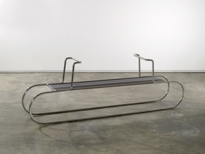 Fernanda Fragateiro, MR10 Double Chair after Mies van der Rohe and Lilly Reich, 2009. Polished stainless steel, Gütermann silk thread. Courtesy of the artist. © Fernanda Fragateiro. Photo: Miguel Angelo Guerreiro