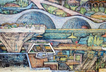 Paolo Soleri, detail, Macro-Cosanti Foundation Studies 2 and 3, 1964. Pastel, pencil, china ink, charcoal and color chalk on paper with gauze backing, 48 x 527 inches. Collection of the Cosanti Foundation. © Cosanti Foundation. Photo: Cosanti Foundation/Soleri Archives/David DeGomez