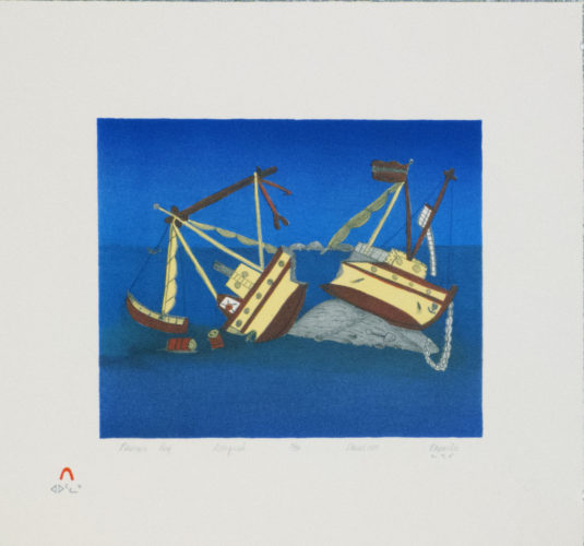 Napachie Pootoogook (Inuit, 1938 – 2002), Nascopie Reef, 1989. Lithograph, 17 x 19 inches. Edward J. Guarino Collection, Yonkers, New York