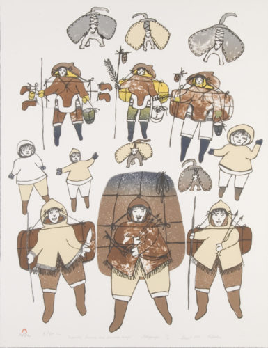 Pitseolak Ashoona (Inuit, 1904 – 1983), Migration towards Our Summer Camp, 1983/84. Lithograph, 26 x 20 inches. Courtesy Dorset Fine Arts, Toronto