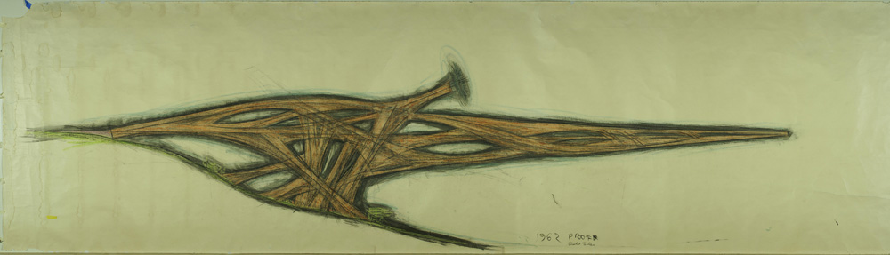 Paolo Soleri, Cantilever Bridge (proof), 1963. Charcoal, black ink and colored wax crayon on paper. 188 x 48 inches. Collection of the Cosanti Foundation. © Cosanti Foundation