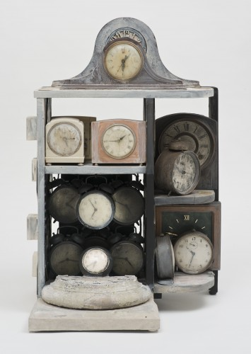 Betye Saar, Still Ticking, 2005. Mixed media assemblage, 29 1/2 x 19 x 16 in. Courtesy the artist and Roberts & Tilton, Culver City, California. © Betye Saar