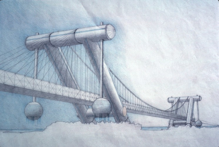 Paolo Soleri, New York Pulse Bridge, 1988. Colored pencil on paper, 29 x 27 3/4 inches. Courtesy of the Cosanti Foundation. © Cosanti Foundation