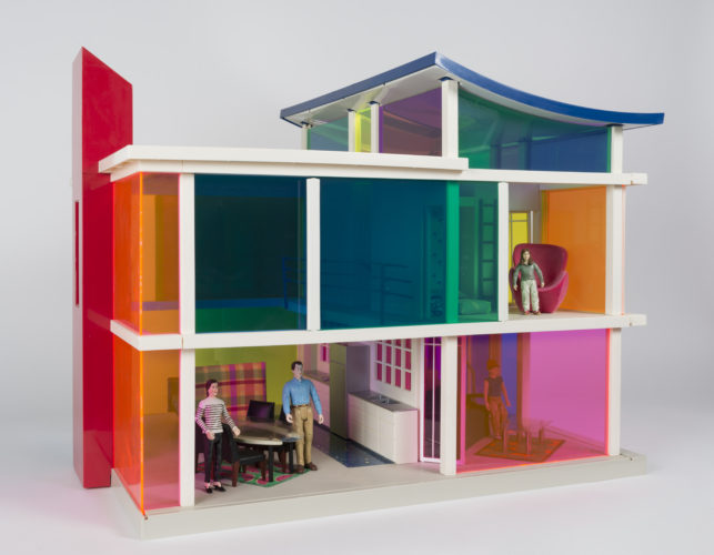 Laurie Simmons and Peter Wheelwright, manufactured by Bozart Toys, Kaleidoscope House, 2000. Plastic, mixed media, 28x22x28 inches. Collection of Scottsdale Museum of Contemporary Art, gift of Sara and David Lieberman, 2001.012.a-ac.