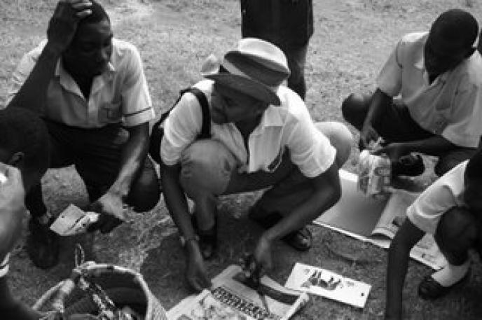 Pictured: Artist Lyle Ashton Harris with students in Accra, Ghana.