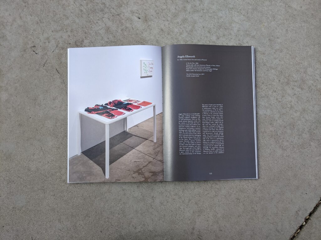 Interior page of Counter-Landscapes catalog featuring artwork by Angela Ellsworth.